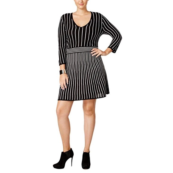 New York & Company Dresses | Nwt Plus Size Flattering Striped ...